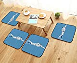 Printsonne Modern Chair Cushions Swimming Freestyle Water Sports Olympic Challenging Competitive Game Convenient Safety and Hygiene W23.5 x L23.5/4PCS Set