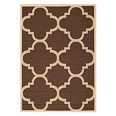 Safavieh Courtyard Collection Red and Chocolate Indoor/Outdoor Area Rug