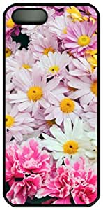 Beautiful Flowers Theme Case for iPhone 5 5s PC Material Black