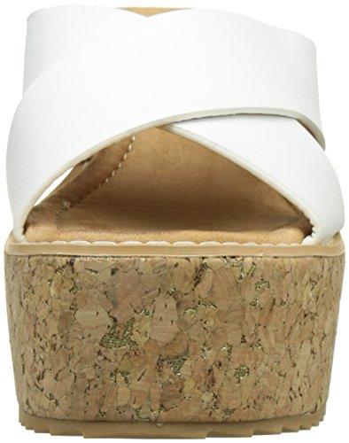 Angkorly - Chaussure Mode Mule Sandale plateforme femme liège lanière Talon compensé plateforme 9.5 CM - Blanc