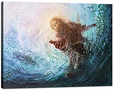 Yatsen Bridge Modern Jesus Wall Art Hand of Jesus Under Water Posters Teal Blue Canvas Religion Picture See A Glimmer of Hope Artwork Ready to Hang