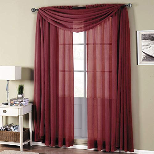 Royal Hotel Abri Burgundy Rod Pocket Crushed Sheer Curtain Panel, 50x84 inches