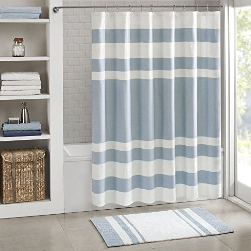 Madison Park Spa Waffle Weave Striped Fabric Shower Curtain, Classic Shower Curtains for Bathroom, 72 X 72, (3 Stripe Shower Curtain)