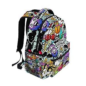 Ahomy Backpack Graffiti Cartoon Rucksack School Bag for Girls Boys Women Ideal Travel Day Shoulder Pack