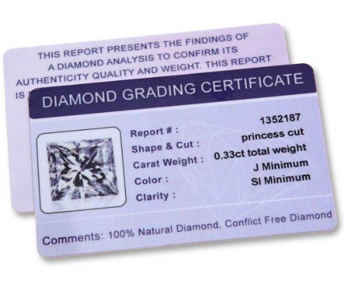 Revoni Bague en or blanc-18carats 1/3carat Diamant coupe princesse certifié J/SI Boucles d'oreilles clous