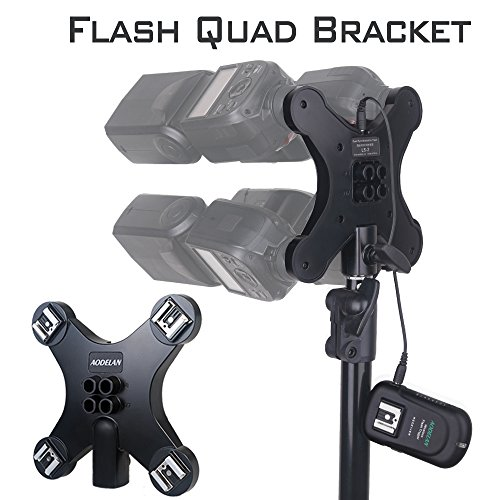 AODELAN Speedlite Hot Shoe Stand Light Stand Bracket with 4 Umbrella Holders, 4 Hot Shoes & 3.5mm Sync Connector for Canon, Nikon, Olympus, Panasonic, Pentax, Fuji and Other DSLR Flashes