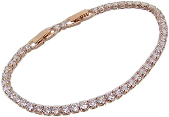 Swarovski Crystal Unisex Deluxe Tennis Bracelet Rose Gold Plated #5513400
