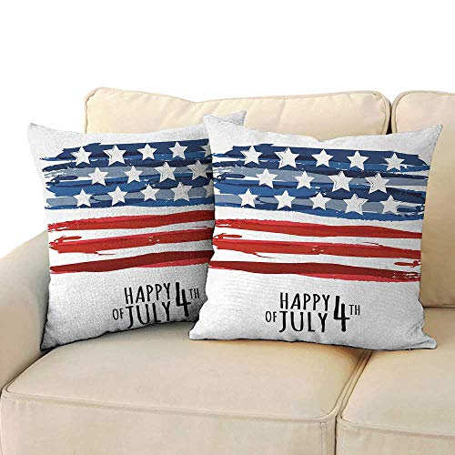 Ediyuneth Spring Throw Pillow Cushion Cover 4th of July,American Flag in Artistic Abstract Style Paintbrush Effect Stripes Happy Day,Multicolor 18