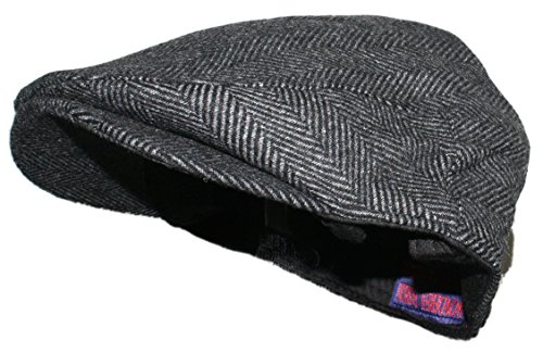 Ted and Jack Street Easy Herringbone Driving Cap With Quilted Lining In Black and Charcoal Gray Size Small/Medium (Quilted Lining)