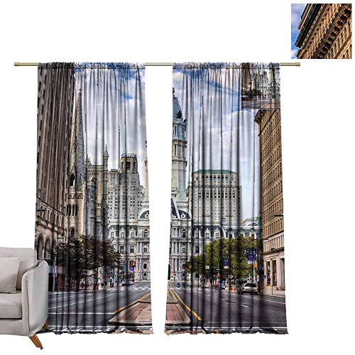Decor Curtains by Philadelphia City Hall in Downtown of Philadelphia, PA, USA W96 x L84 Blackout Draperies for - Hall City Philadelphia Pa