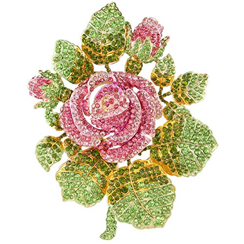 EVER FAITH Austrian Crystal Wedding Bridal Romantic Rose Flower Leaves Brooch Pink Gold-Tone