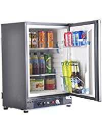 SMAD 3-Way Absorption Fridge RV Truck Refrigerator,AC/DC/LPG,55 Qt,Black