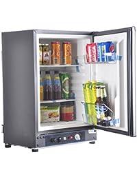 SMAD 3-Way Absorption Fridge RV Truck Refrigerator,AC/DC/LPG,55 Qt,Black