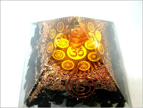 Jet Tourmaline Orgone Aum Pyramid Chakra Balancing 2 5 Inch Natural Charged Emf Harmonizer Energy 3Rd Eye Activation Meditation Vastu Healing Gemstone Jet Crystal Therapy Booklet Hand Carved Success