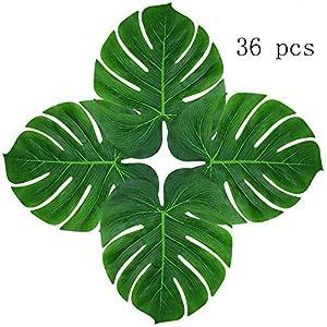 "Hecaty Tropical Palm Leaves Plant Imitation Leaf, 13"" DIY Waterproof Artificial Leaf Hawaiian Luau Party Jungle Beach Theme Decorations Birthdays, Prom, Events 20"