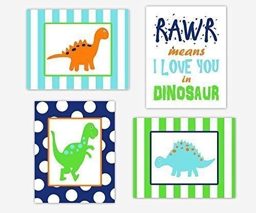 (Dinosaur Baby Nursery Wall Art Prints Boy Room Decor Remember You Are Braver Quote Orange Lime Aqua Navy Blue Dino Toddler Bedroom Stripes Polka Dots SET OF 4 UNFRAMED PRINTS )