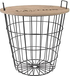 Kare design wire side table metal black amazon kitchen home spetebo design coffee table in metal wooden tabletop decorative coffee table storage basket greentooth Images