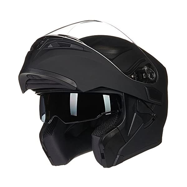 ILM Motorcycle Dual Visor Flip up Modular Full Face Helmet DOT with 6 Colors (L,...