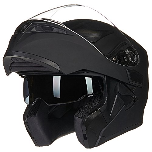 ILM Motorcycle Dual Visor Flip up Modular Full Face Helmet DOT with 6 Colors (M, MATTE BLACK) ()