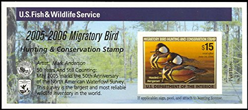 2005 $15 Hooded Merganser Federal Duck Stamp Self Adhesive Pane Scott RW72A By USPS