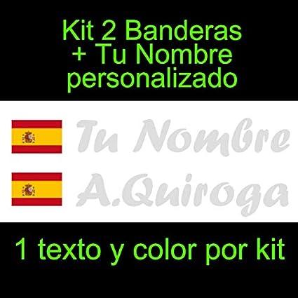 Vinilin Pegatina Vinilo Bandera España con Escudo + tu Nombre - Bici, Casco, Pala De Padel, Monopatin, Coche, Moto, etc. Kit de Dos Vinilos (Plateado): Amazon.es: Coche y moto