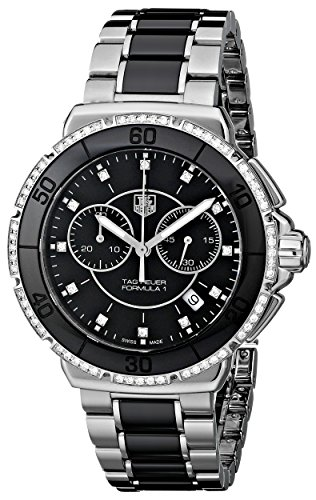 Watch Steel Chronograph Stainless Diamond (TAG Heuer Women's Formula One Black Diamond Chronograph Watch CAH1212.BA0862)