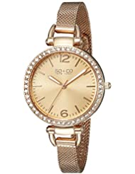 SO&CO New York Womens 5061M.2 SoHo Quartz Crystal Accent 16K Rose Tone Stainless Steel Mesh Bracelet Watch