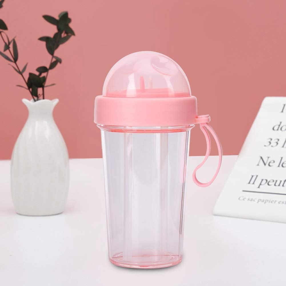 Rosa Mumusuki Bottiglia per Acqua a Doppio Uso Portatile a Tenuta stagna da 420 ml con Due cannucce da Viaggio allaperto