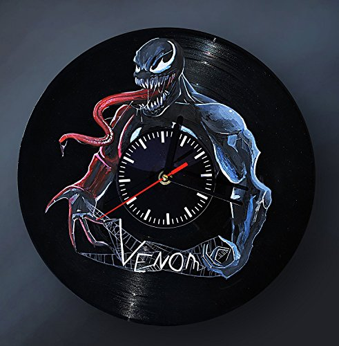 Contemporary HANDPAINTED Vinyl Record Wall Clock - Get Unique Home Room Wall Decor - Gift Ideas For Men and Women - Comics Fictional Character Unique Art Design