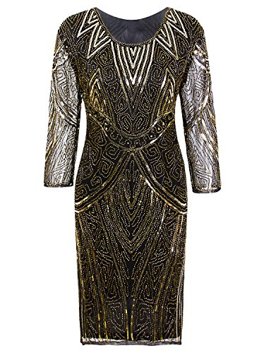 Vijiv Women 1920s Gastby Beaded Sequin 3/4 Sleeve Art Deco Embellished Party Flapper Dress