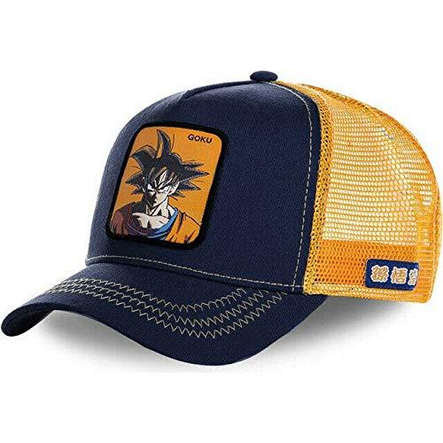 Men's DBZ Figures Anime Farm Snap Back Trucker Hat Baseball Cap Adjustable Hat (Jeans Blue/Yellow Mesh Goku, One Size) ()