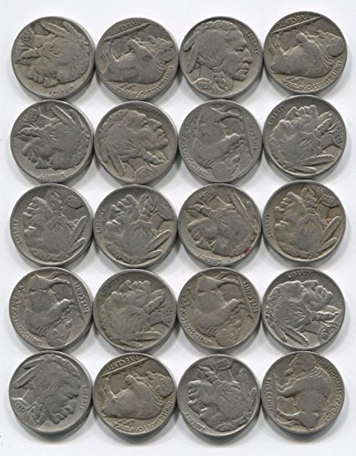 Buffalo Nickels 20 Indian Head Coins Lot Full Date 1/2 Roll Mixed Set Collection