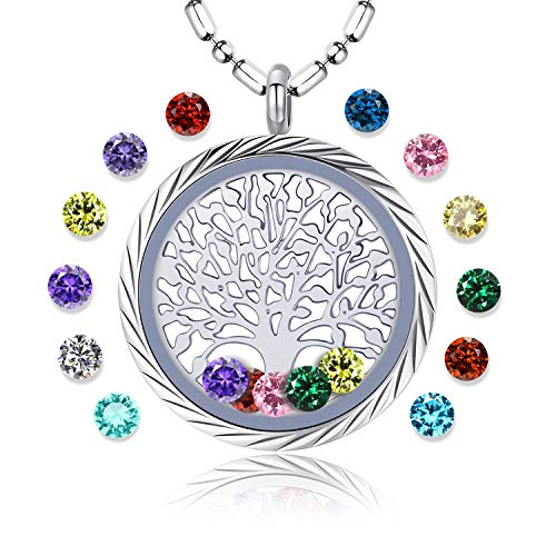 Family Tree of Life Floating Living Memory Locket Pendant Necklace with Birthstone, All Charms Included (Engraving-B03)