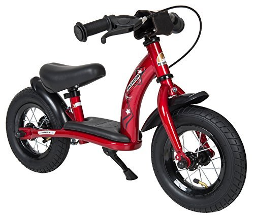 BIKESTAR Original Safety Lightweight Kids First Balance Running Bike with brakes and with air tires for age 2 year old boys and girls | 10 Inch Classic Edition | Heartbeat Red