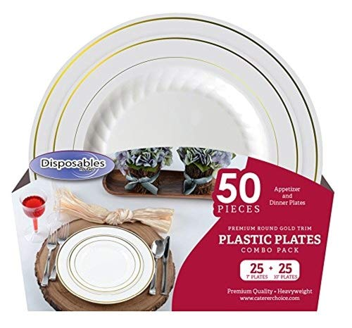 "Premium China dishes design Combo Heavy-weight Bone with Gold Trim Round Plastic Party Plates | 50 Count - 25 x 7""inch 25 x 10"" 