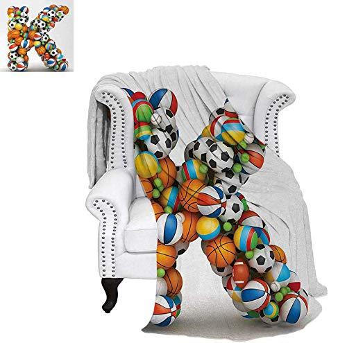 Lightweight Blanket Alphabet Letter with Gaming Balls of Popular Sports Fun Initial Monogram Design Digital Printing Blanket 50