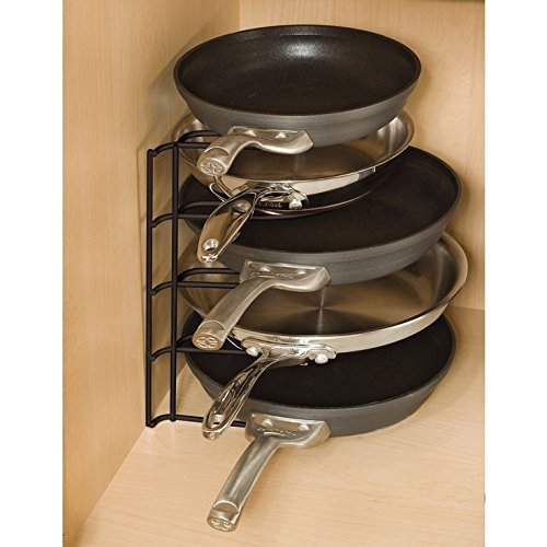 Hoople Pot and Pans Rack Organizer Counter Pantry No Assembly Required Black Heavy Duty for Cast Iron Cookware Lid Holder for Kitchen Cabinet Shelf