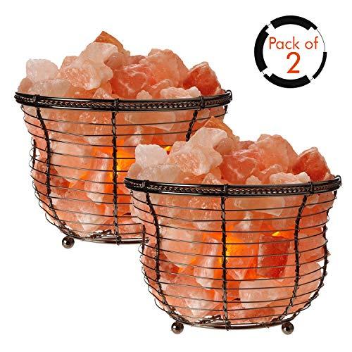 (Himalayan Glow 1301BB Basket Salt Lamp 8-10 pounds Each, 2 Piece)