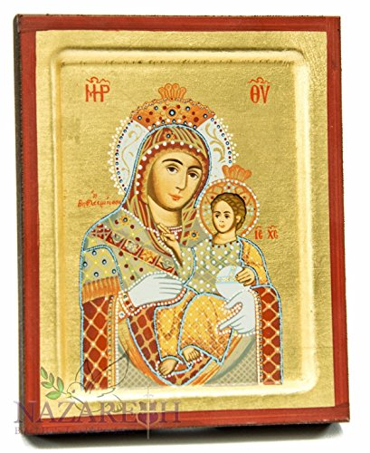 Jerusalem Virgin Mary With Jesus Christ Byzantine Wood Icon Christian by Holy Land Gifts