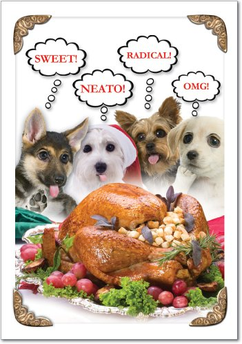 1374 'Sweet Puppies' - Funny Merry Christmas Greeting Card with 5