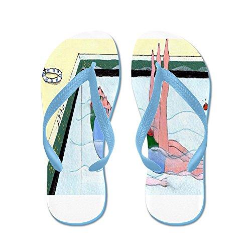 Cafepress Synchroonzwemmen - Flip Flops, Grappige Leren Sandalen, Strand Sandalen Caribbean Blue