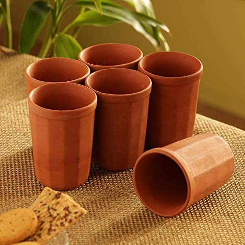 Odishabazaar Handmade Clay Glass/Clay Drinking Water Glasses/Clay Milk Glass/Clay lassi Glass/Clay Juice Glass/Mitticool Glass/Earthenware Product Good for - Mexican Cotta Terra