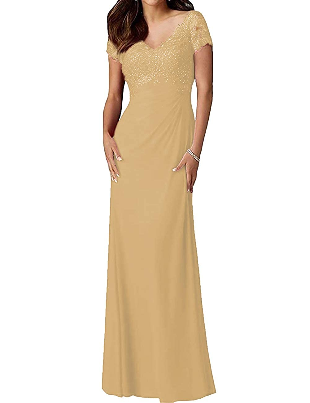 Champagne H.S.D Mother of The Bride Dresses Lace Formal Gowns Long Evening Dresses Short Sleeve