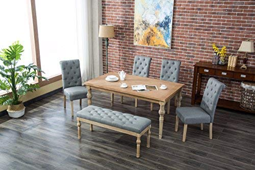 Roundhill Furniture Habitanian 6-Piece White Wash Dining Set with Tufted Chairs and Bench, Grey