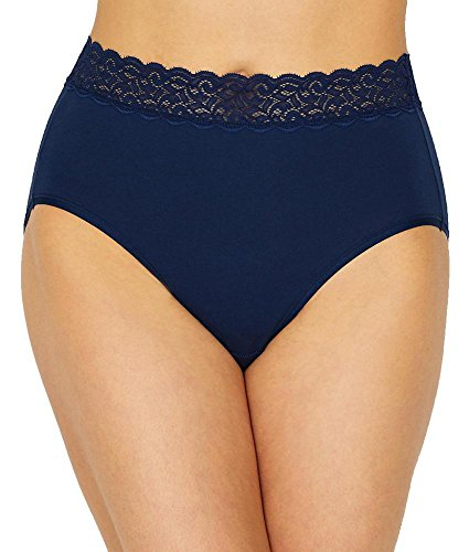 Vanity Fair Women's Flattering Lace Cotton Stretch Brief Panty 13396, Times Square Navy, 2X-Large/9