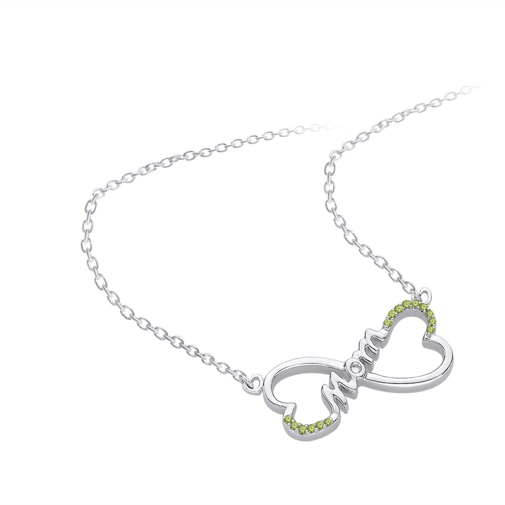 KATARINA Gemstone Twin Heart InfinityMOM Pendant Necklace in Sterling Silver 1//10 cttw
