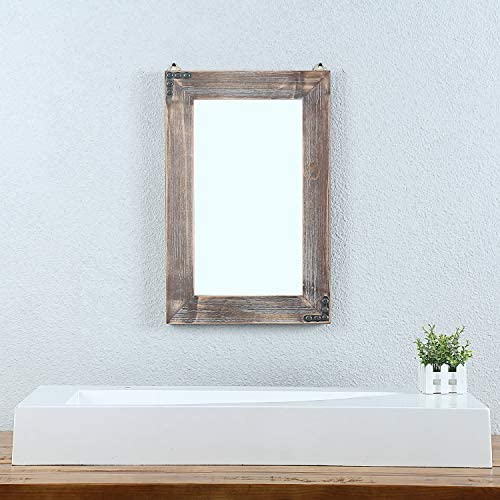 Weven 16in x 24in Rustic Wood Frame Hanging Wall Mirror Decorative Bathroom Mirror