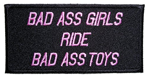 Leather Supreme Bad Ass Girls Ride Bad Ass Toys Ladies Embroidered Biker Patch-Pink-Small