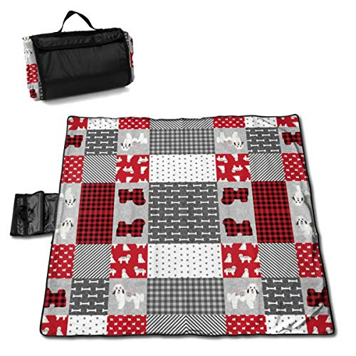 JHNDKJS Havanese Dog Fabric Pet Quilt Cheater Quilt Camco Handy Mat with Strap, Perfect for Picnics, Beaches, RV and Outings, Weather-Proof and Mold- Mildew Resistant