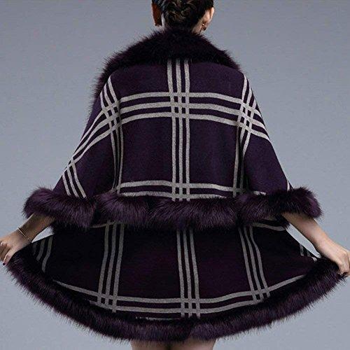 Manteau en Fourrure Irrgulier Lilas Asymtrique Elgante Vintage Coat Femme Veste Hiver Hiver BIRAN Cape Fourrure Synthtique breal Outerwear Mode nIOWPz
